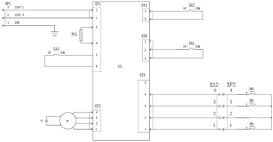 5.2 自立式电动/手动升降杆的电路接线图,见图2.